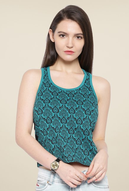Cult Fiction Teal Paisley Print Top