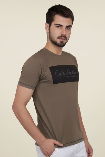 Cult Fiction Brown Printed T Shirt