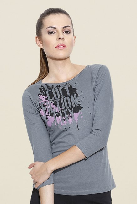 Cult Fiction Grey Graphic Print T Shirt