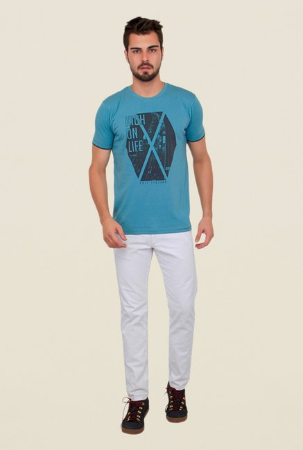 Cult Fiction Aqua Blue Graphic Print T Shirt