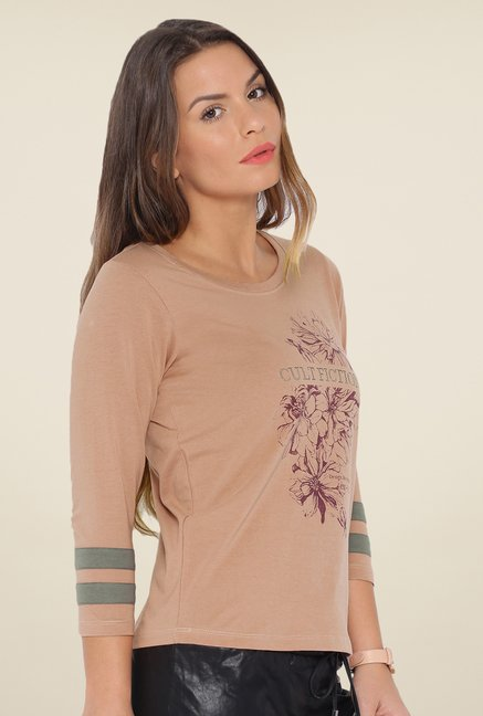 Cult Fiction Brown Floral T Shirt