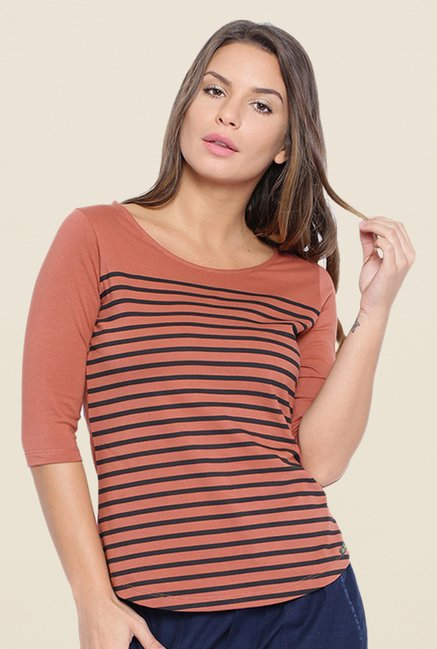 Cult Fiction Brown Striped T Shirt
