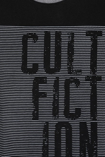 Cult Fiction Black Self Print T Shirt