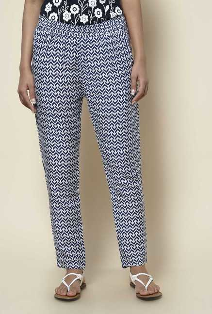 Zudio Navy Printed Pants