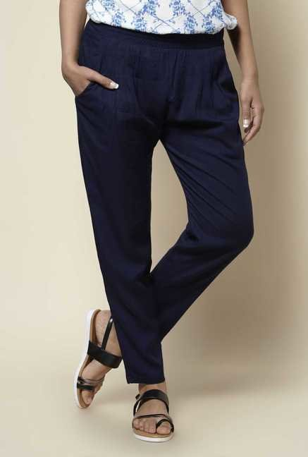 Zudio Navy Solid Pants