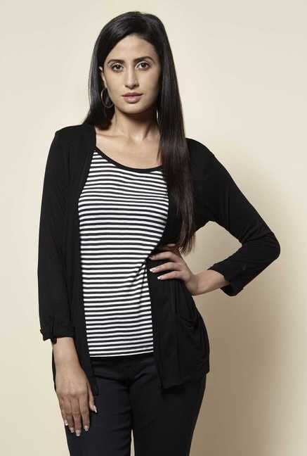 Zudio Black & White Striped Top