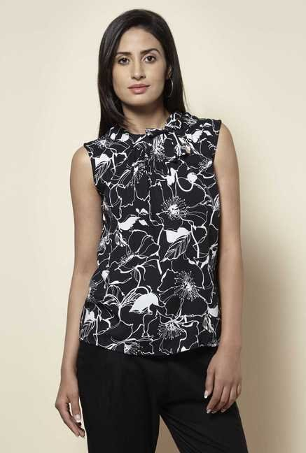 Zudio Black Floral Print Blouse