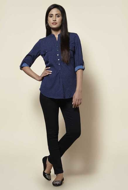 Zudio Blue Polka Dot Blouse