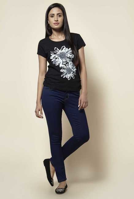 Zudio Black Floral Print T Shirt