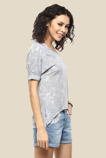 Femella Grey Printed Top
