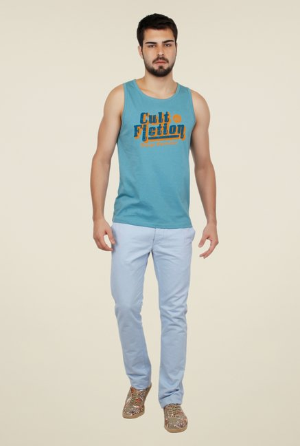 Cult Fiction Light Blue Graphic Print Vest