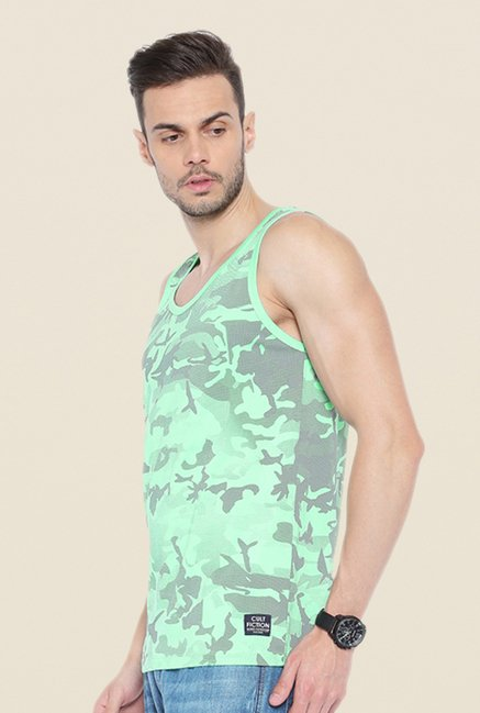 Cult Fiction Green Printed Vest