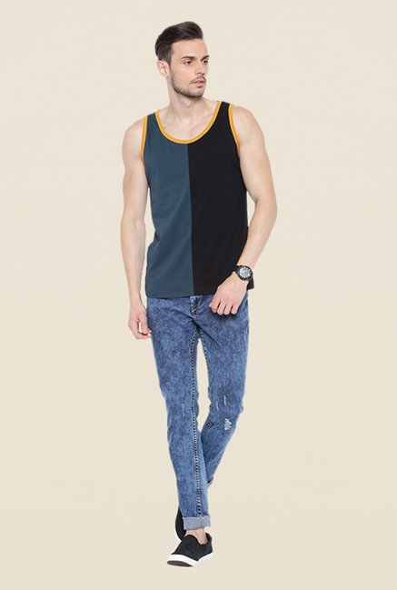 Cult Fiction Black & Grey Solid Vest