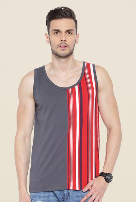 Cult Fiction Charcoal Striped Vest