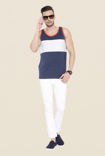 Cult Fiction Navy Striped Vest