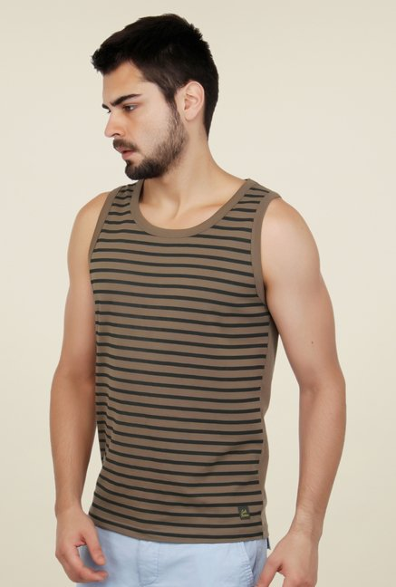 Cult Fiction Brown Striped Vest