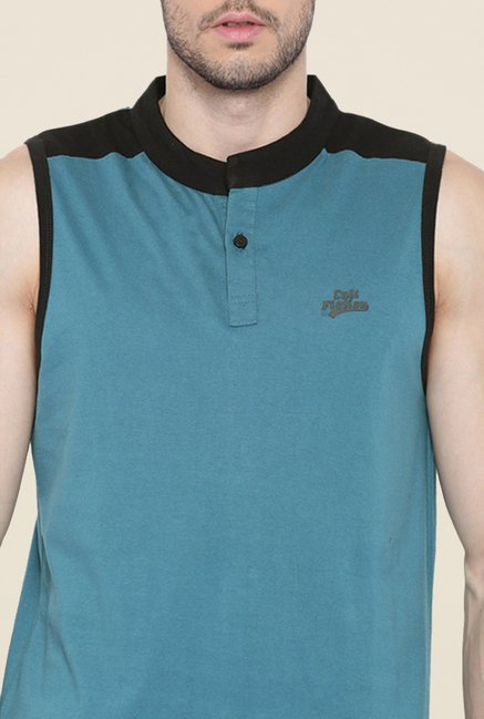 Cult Fiction Teal Solid Vest