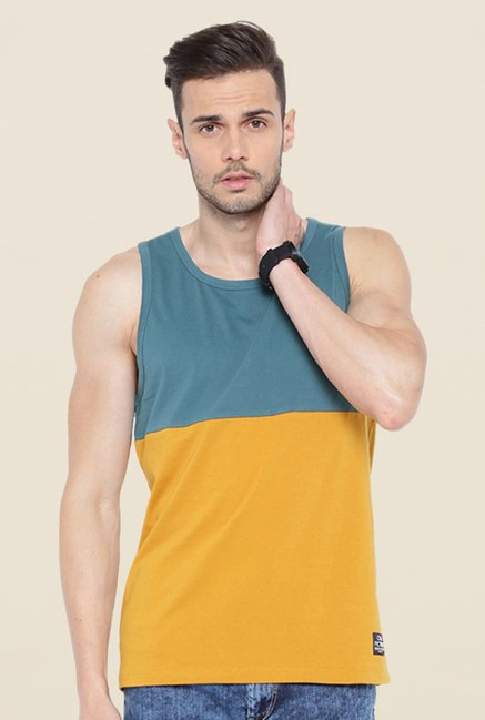 Cult Fiction Mustard & Teal Solid Vest