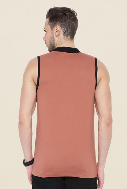 Cult Fiction Peach Solid Vest