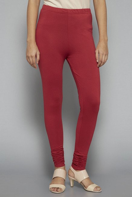 Zuba by Westside Maroon Solid Leggings