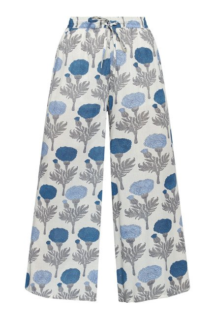Zuba by Westside White Floral Print Palazzo