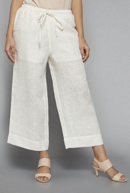 Zuba by Westside Off White Solid Palazzo