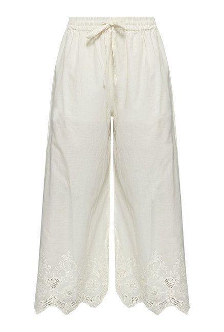 Zuba by Westside Off White Embroidered Palazzo