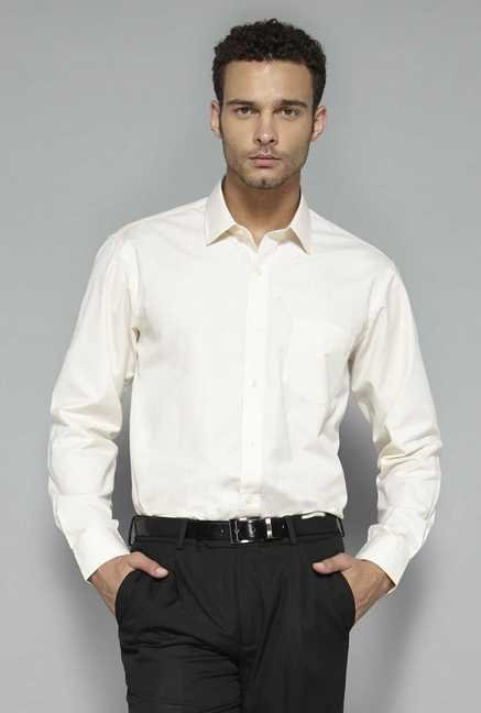 Weststreet by Westside Cream Solid Shirt