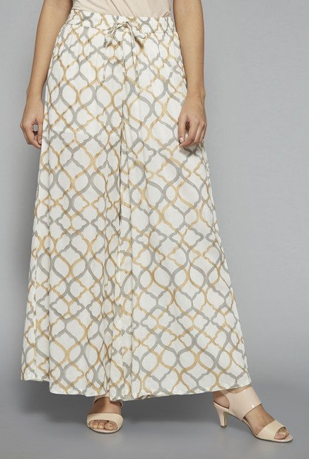 Zuba by Westside Off White Printed Palazzo