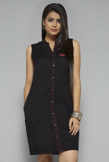 Bombay Paisley by Westside Black Solid Dress