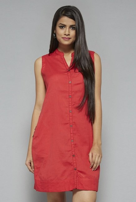 Bombay Paisley by Westside Coral Solid Dress