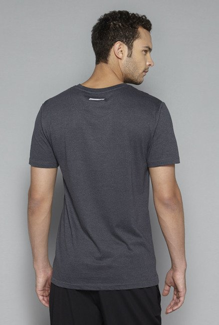 Westsport by Westside Charcoal Melange Printed T Shirt