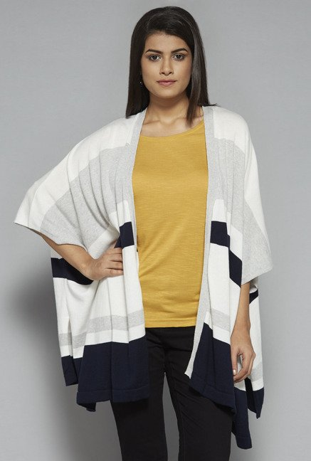 LOV by Westside Grey Striped Shrug