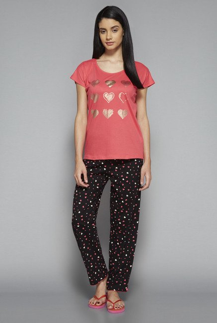 Intima by Westside Coral & Black Heart Print Pyjama Set