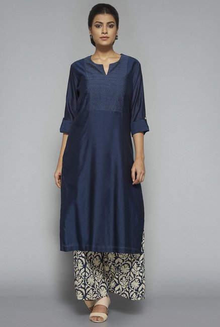 Zuba by Westside Navy Embroidered Kurta