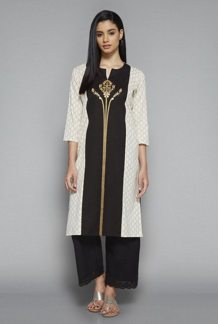 Utsa by Westside Off White & Black Printed Kurta