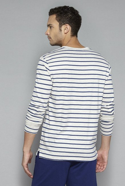 Bodybasics by Westside Off White Striped T Shirt