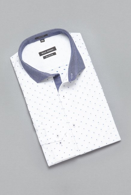 Weststreet by Westside White Self Print Shirt