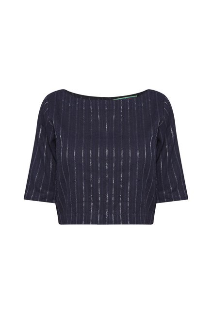 Bombay Paisley by Westside Navy Striped Crop Top