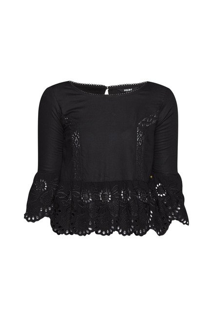 Nuon by Westside Black Lace Latino Blouse
