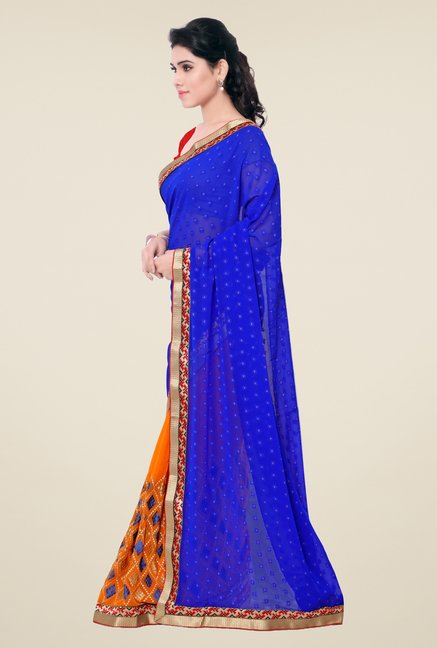 Triveni Orange Printed Georgette Jacquard Saree