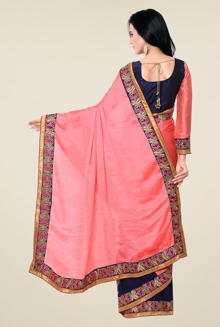 Triveni Navy & Pink Embroidered Faux Georgette Saree