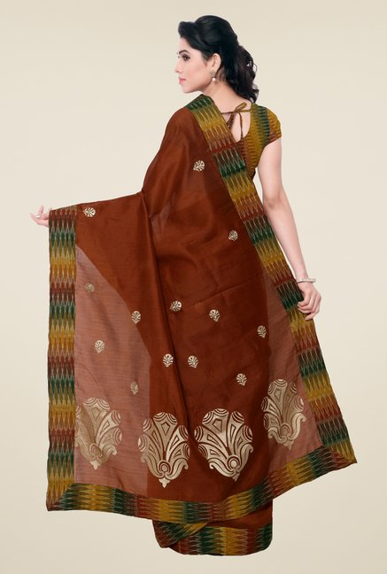 Triveni Brown Embroidered Blended Cotton Saree