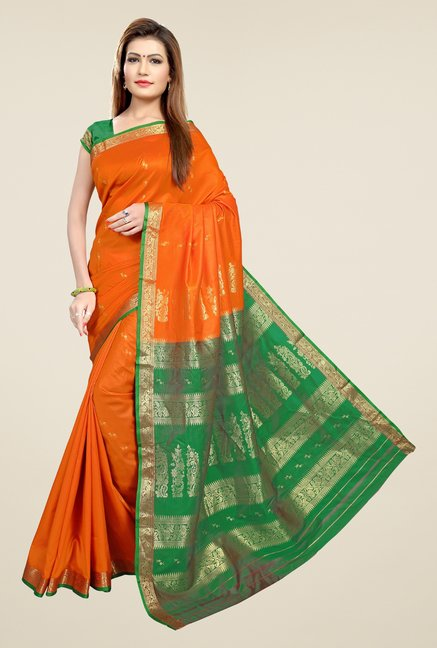 Triveni Orange & Green Printed Art Silk Saree
