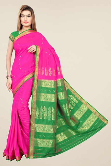 Triveni Pink & Green Printed Art Silk Saree
