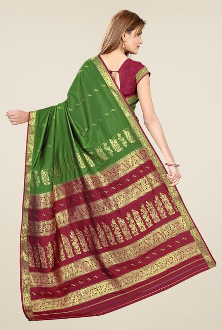 Triveni Green & Maroon Printed Art Silk Saree