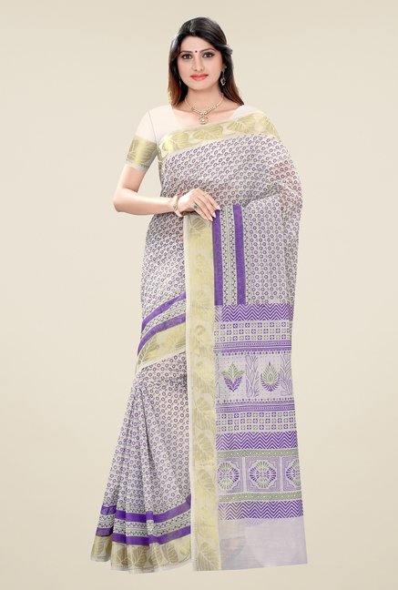 Triveni Purple Printed Blended Cotton Saree