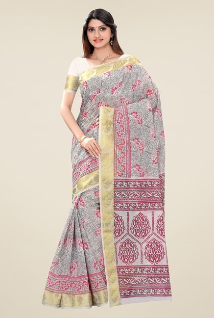 Triveni Grey Printed Blended Cotton Saree