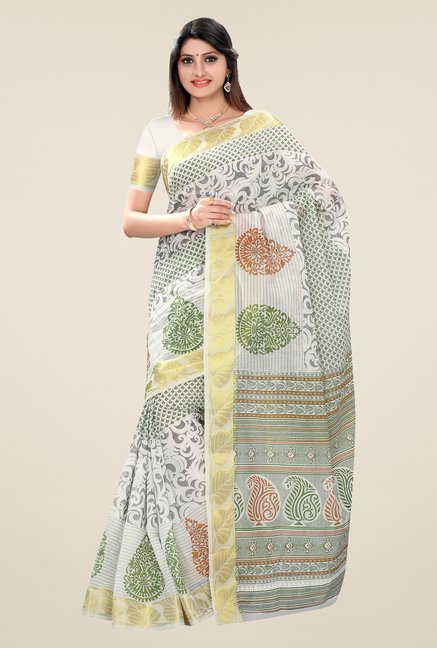 Triveni Off White Printed Blended Cotton Saree