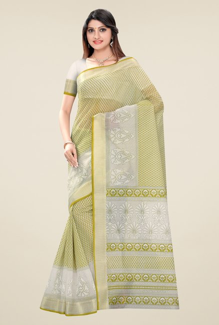Triveni Green Printed Blended Cotton Saree
